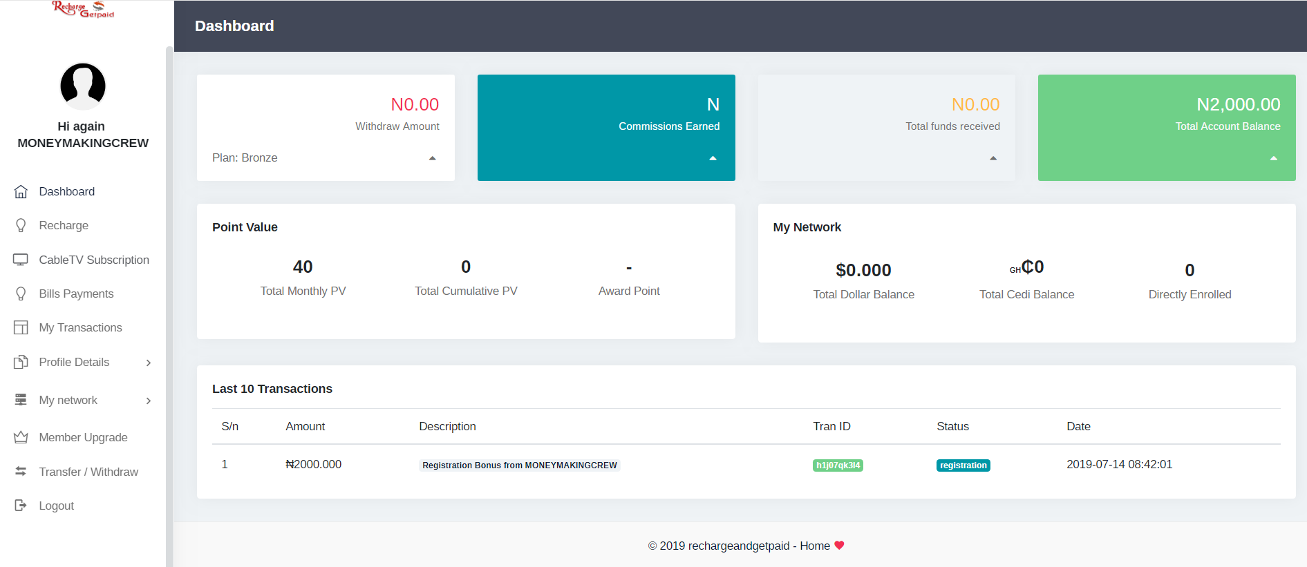 recharge and get paid dashboard