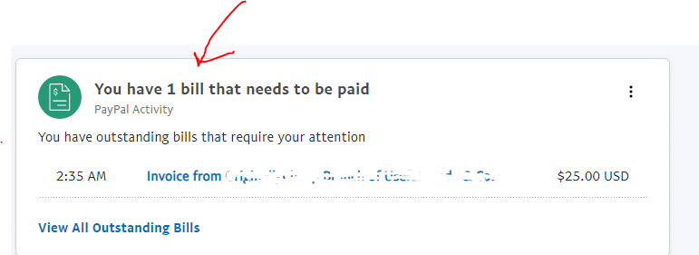 Screenshot amazon gift card to paypal Invoice notice