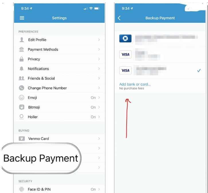 venmo payment settings amazone gift card to bank account balance