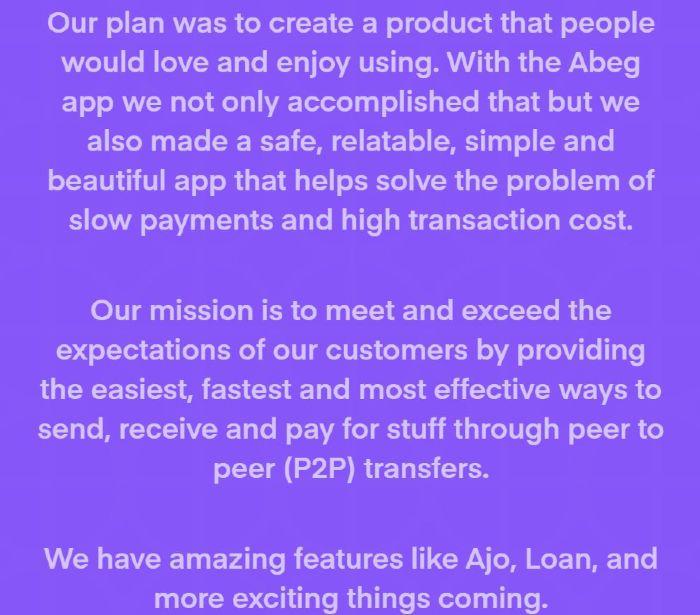 Abeg APP review Mission