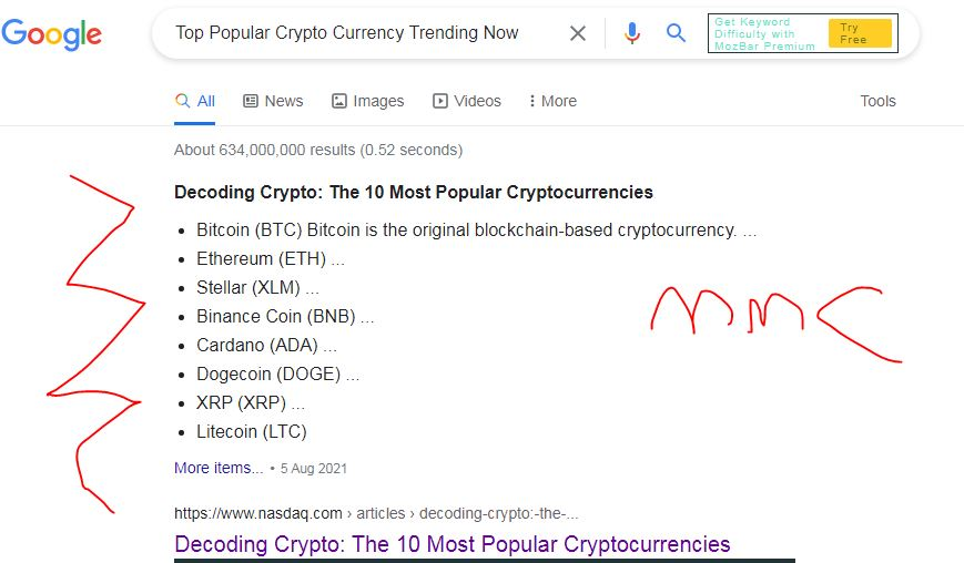 scrrenshot of best cryptocurrencies on  How to make an extra $1000 a month